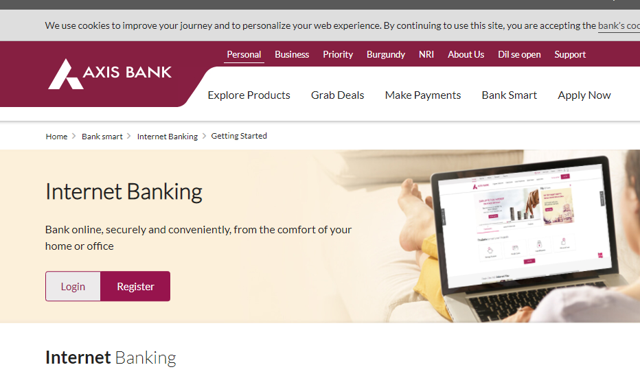 Register for Axis Bank Internet Banking