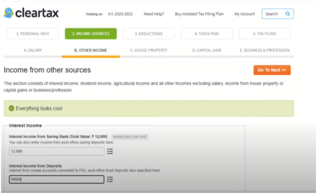 Other Income Details at Cleartax Login