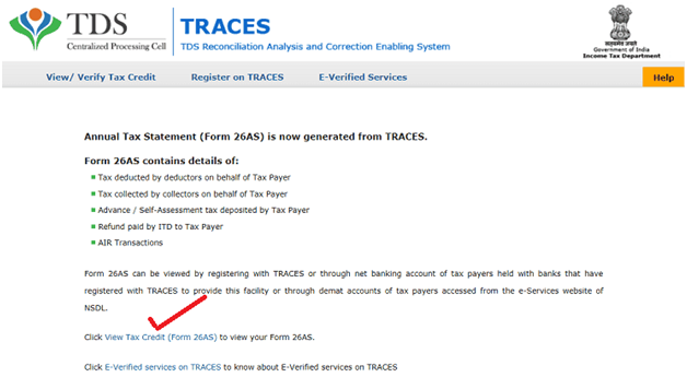View Tax Credit (Form 26AS)